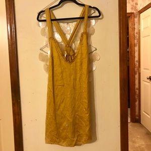 Free people golden jeweled flower dress